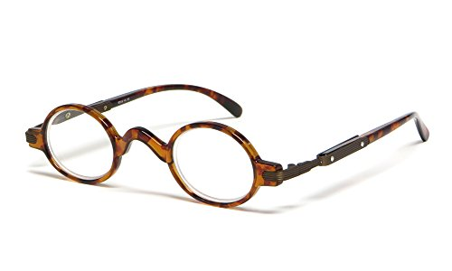 Calabria R314 Unisex Vintage Professor Oval Reading Glasses Incredibly Lightweight and Comfortable in Tortoise +1.50