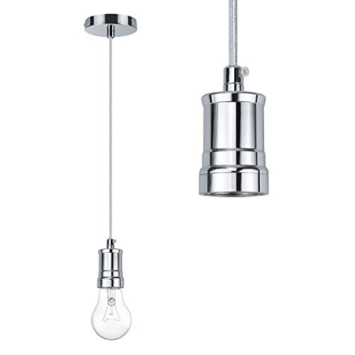 E27 Metall Lampenaufhängung, ZSTKEKE Vintage Lighting Edison Lampenfassung mit 1 M Kabel, Pendelleuchte Kit,- Silber