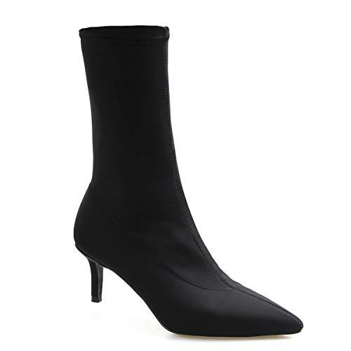 Dames enkellaarsjes, dames vrouwelijke puntige schoen hak elastische stof laarzen sexy party stiletto sokken laarzen, zwart, 40