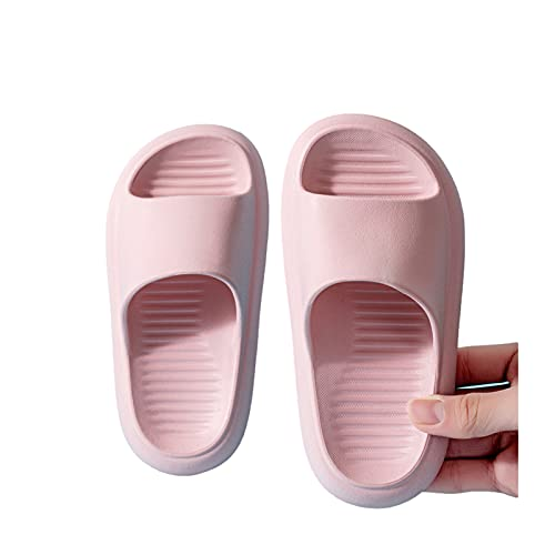 Pillow Slippers for Kids, Girls Boys Slides Sandals Shower, Beach Slippers, Non-Slip Thick Lightweight Soft EVA Massage Sole Beach Home Indoor (Pink,13.5-1 Little Kid)