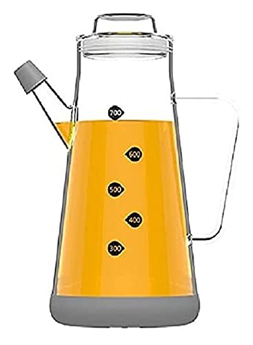 ZHANGKAIXUAN Botella de Vidrio Especia Dispensador de Aceite de Oliva Botella de Cristal de líquido 500 ml (Gorra Verde) Ensaladas (Color : 700ml Transparenter)