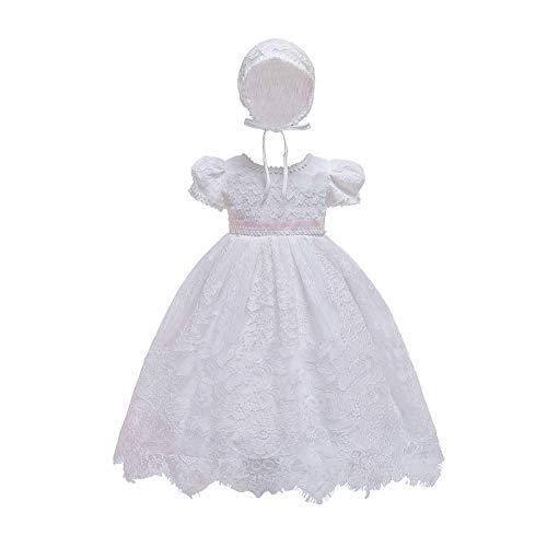Bmeigo Baby Mädchen Taufkleid - Infant Babybekleidung Spitze Prinzessin Festlich Formal Hochzeit Kleid Kurze Ärmel mit Bonnet
