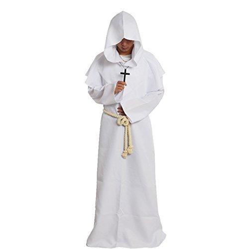 BLESSUME Priester Mönch Kostüm Robe Mönch Mittelalterliche Kapuze Kapuzenmönch Renaissance Robe Kostüm (Weiß, S)