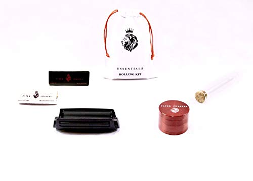 Paper Chasers Herb Essential Rolling Bag Includes 4 Piece Metal Grinder, Hemp Rolling Papers, Pre-Roll Machine, Smell-Proof Tube