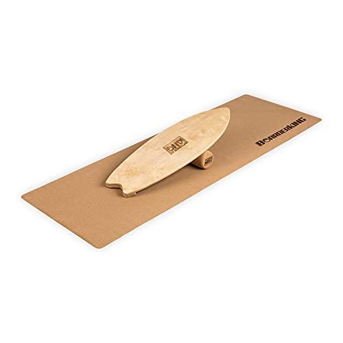 Indoorboard Wave Set Balance Board Skateboard Surfboard Balanceboard (Raw Wood, 100 mm (Korkrolle))