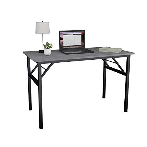 sogesfurniture Mesa Escritorio Plegable, 120x60 cm Mesa de Ordenador Escritorio de Oficina Mesa de Estudio Mesa de Comedor Plegable para Hogar Oficina, Picnic, Gris&Negro, BHEU-AC5LB-120