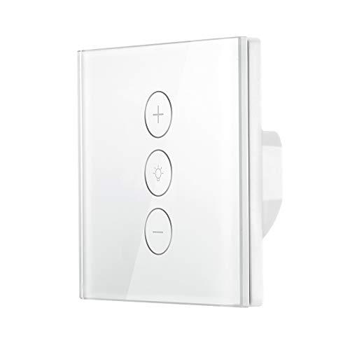 Interruptor de luz inteligente Atenuador de pared con función de temporizador Interruptor del panel de control táctil Trabajo con Alexa/Google/IFTTT