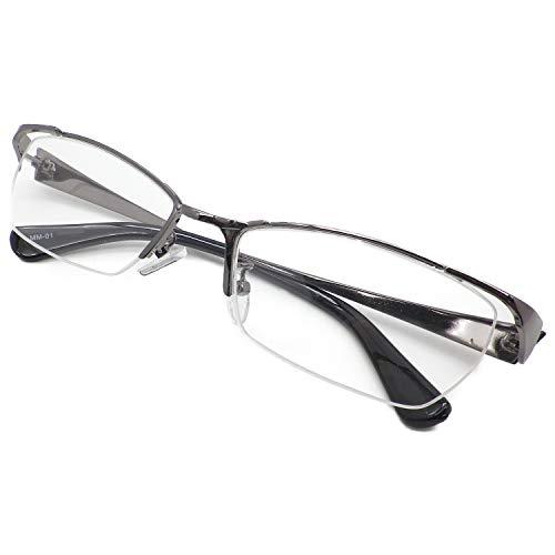 かっこいい 老眼鏡 シニアグラス リーディンググラス メンズ おしゃれ スタイリッシュ メタル ナイロール ちょい悪 MM-01 (グレー(幅広), 1.00)