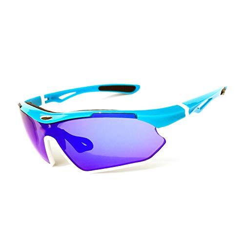 KAISUN Gafas de Sol Deportivas Polarizadas,Gafas de Ciclismo con Protección UV, con 1 Lente de PC Galvanoplastia y Funda de Gafas,para Running MTB Bicicleta (TYP 5)