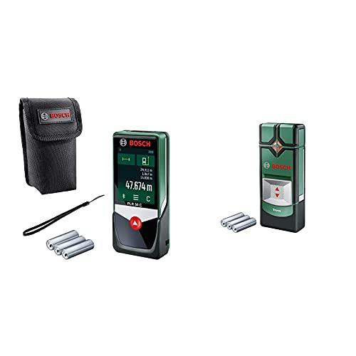 Bosch Digitaler Laser Entfernungsmesser PLR 50 C (mit App Funktion, 50 Meter Messweite, im Karton) & Ortungsgerät Truvo (max. Ortungstiefe Stahl/Kupfer/Stromleitung: 70/60/50 mm, in Dose)