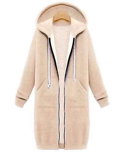 Hifanmall Damen Strickjacke Casual Mantel Hoodie Zipper Hoodies Sweatjacke Langer Manteljacke Oversized Coat Outwear Kapuzenpullover, Aprikose, 46,3XL