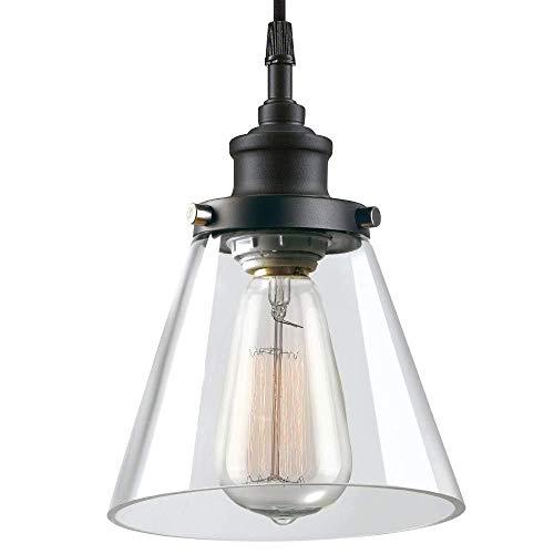 Luz pendiente Industrial de la vendimia de la sala retro cristal claro de Pantalla de techo Lámpara colgante con la suspensión de metal E27 rústica del accesorio de iluminación for el dormitor