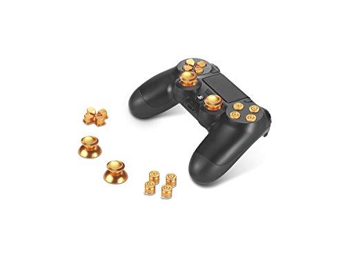 Supremery Alu Buttons für Playstation 4 Dualshock Controller Aluminium Buttons Kappen Thumbsticks Ersatzteile Zubehör für PS4 (Bullet Gold)