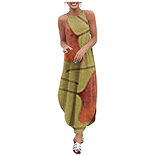 FOTBIMK Vestidos para mujer UK tallas grandes impresión irregular manga casual chaleco vestidos S-5XL