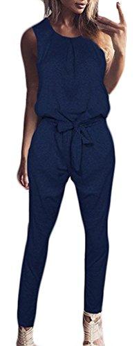 Jumpsuit dames lange broek zomer elegante ronde hals mouwloos moderne stijl romper meisjes bandage gemeenschaptaille vintage young mode casual body romper kleding broekpak