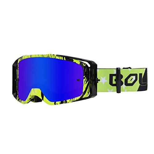 KALUN 2020 New Men's and Women's Outdoor Sports Riding Mirrors Motorcycle Racing Supplies Goggles Goggles (Size : Black Green Frame Blue Film)