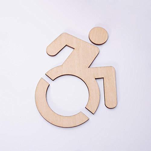 1 stuks 3D Acryl Rolstoel Toegankelijk Gehandicapt Toilet Spiegelend Deursticker/Wandbord, Houten, 15 x 19cm