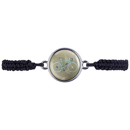Mylery Armband mit Motiv Renn-Rad Retro Türkis Grün Blau Silber 16mm