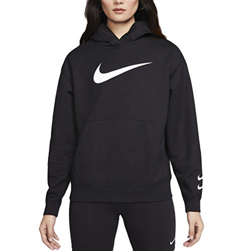 Nike Damen Sportswear Swoosh French-Terry Hoodie, Black/White, S
