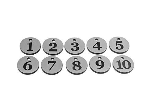 OriginDesigned Schlüsselanhänger, Schlüsselanhänger, Nummern von 1 bis 10, Silberfarben, rund gravierte Zahlen, für Hotels, Pensionen, B&Bs, Unternehmen
