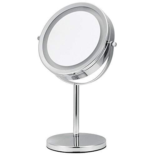 REMIGHTELY Bright LED Miroir de Maquillage, Miroir de Coiffeuse, Miroir d'éclairage avec loupe, Double Miroir pivotant, loupe 5X, 7 Pouces