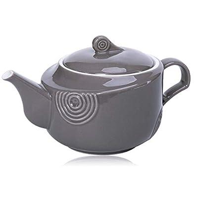 Hompiks Teapot Porcelain Tea Pot Grey Tea Pots for Tea Party Decorative Loose Tea 22 oz