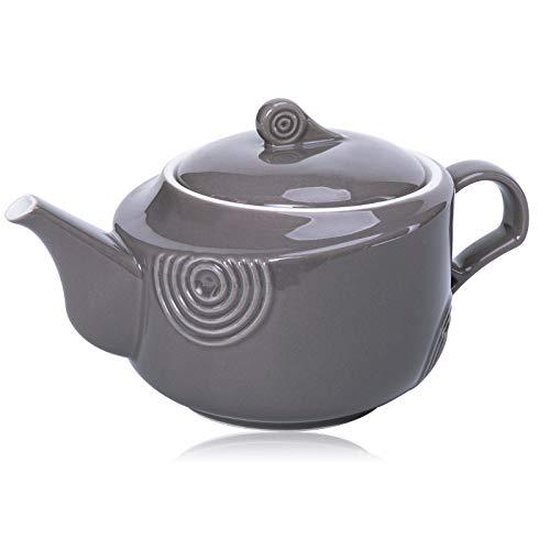 Hompiks Teapot Porcelain Tea Pot Grey Tea Pots for Tea Party Decorative 22 oz