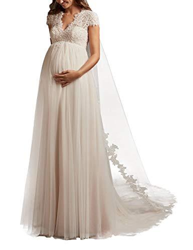 HUINI Brautkleider Hochzeitekleid für Schwangere Spitzen Prinzessin Brautmode Umstandebrautkleid Groß Größen Hochzeitskleid mit Schleppe Elfenbein 46