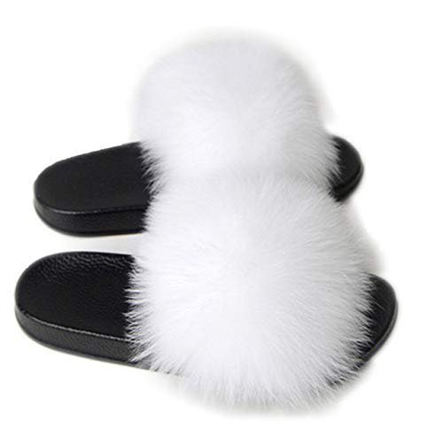 AONEGOLD Scarpe Donna Ciabatte Pelliccia Slippers Sandali con Punta Aperta Pantofole Pelose Diapositive Fluffy Infradito (Bianco,36/37 EU)