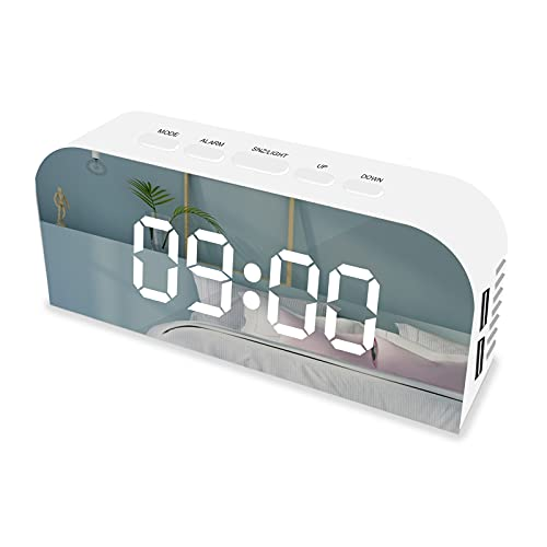 DIQC Sveglia Digitale, Sveglia da Comodino con Temperatura e LED Grande Schermo, Funzione di Snooze, Suoni e Luminosità Regolabile, Ricarica USB, Bianca, per Camera da Letto, Ufficio