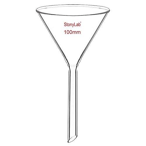 stonylab 1 Stück Glastrichter Labor Borosilikatglas Trichter, Glass Funnel Kurzer Stiel 100mm Durchmesser, 100mm Stiellänge, Borosilicate Labortrichter