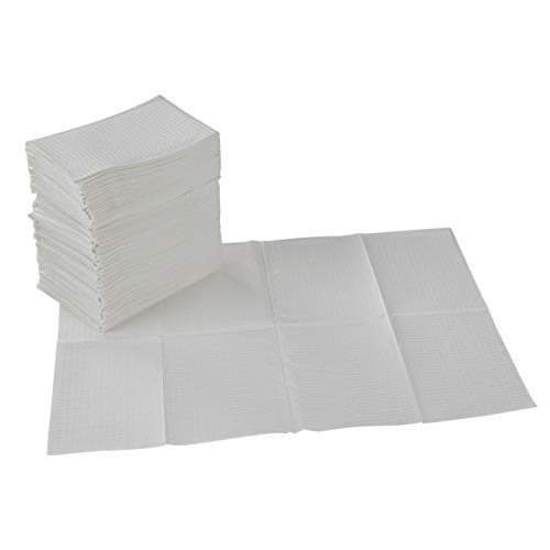 ECR4Kids 2-Ply Tissue and Poly Disposable Sanitary Liner for Baby Changing Stations, Dental Bibs, Tattoo Shops, and Senior Care, 18' x 13', 500-Pack - White, ELR-003