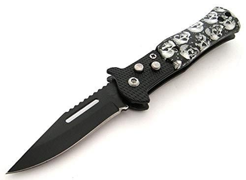KOSxBO® Totenkopf Taschenmesser Black & White - Klappmesser Federuntersützt 15,5 cm - Einhandmesser mit Gürtelclip - Tactical Knife - Outdoor - Angelmesser - Gürtelmesser
