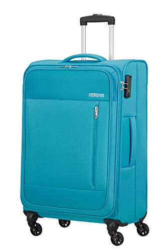American Tourister Heat Wave - Spinner M Maleta, 68 cm, 65 L, Azul (Sporty Blue)