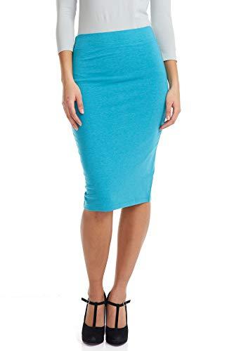 ESTEEZ Pencil Skirt for Women Knee Length Opaque and Modest Aqua XX-Large