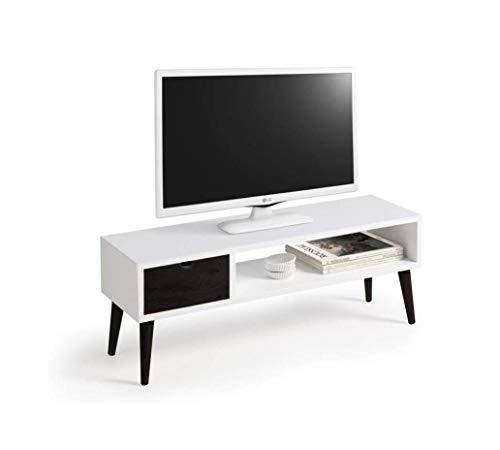 Mesa televisión, Mueble TV salón diseño Vintage, cajón y Estante, Color Blanco y Negro. Medidas 100 cm x 40 cm x 30 cm