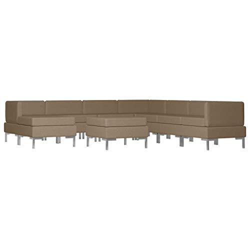 vidaXL Sofagarnitur 9-TLG. Stoffsofa Loungesofa Couch Polstersofa Sofa Couchgarnitur Polstergarnitur Sitzmöbel Mittelsofa Ecksofa Fußhocker Stoff Braun
