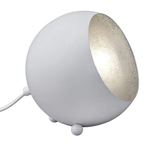 Reality Leuchten Tischleuchte, Metall, E14, weiß matt/silberfarbig, 14 x 15 x 15 cm