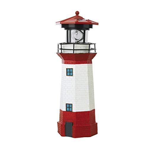 Faro solar LED con lámpara decorativa de haz luminoso giratorio 29 cm (rojo y blanco y negro)