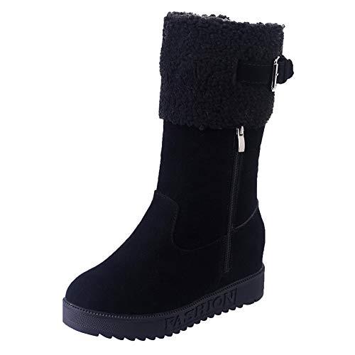 Zapatos Mujer Cuñas,Botas de Nieve Correa de Hebilla Caliente para Mujer Zapatos de cuña Plano Señoras otoño Invierno Botines niña