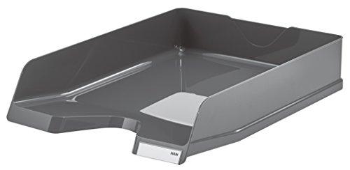 HAN Corbeille à courrier Viva, DIN A4/C4, empilable, avec clip, ultra brillant, gris foncé