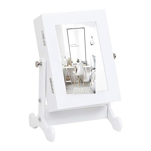 xiangongsi Schmuckschrank mit Spiegel, Aufbewahrungsbox, Arbeitsplatte mit Ständer, Weiß