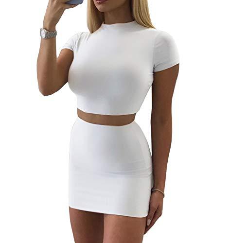 SINRGAN Women's Casual 4 Piece Short Sleeve Crop Top Bodycon Skirt Set White