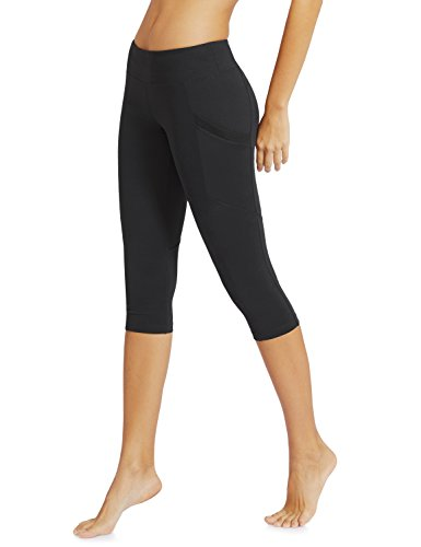 BALEAF Women's Capri Leggings with Pockets Mid Waist Yoga Running Athletic Workout Cropped Compression Pants Black M