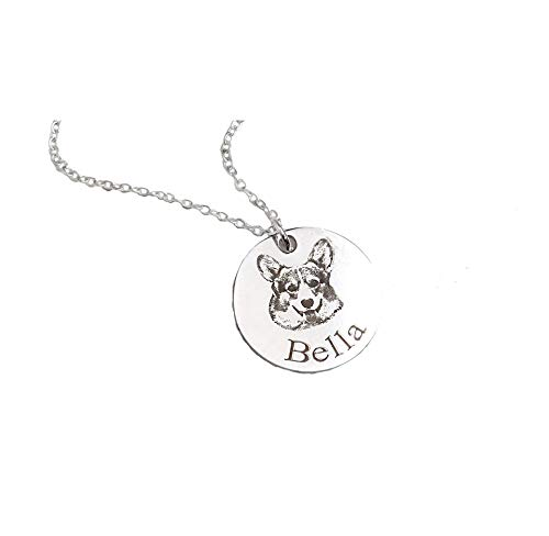 Personalised Pet/Cat/Dog Name Photo Necklace Pendant Silver 45cm Chain Customised Pet Lover Necklaces for Women/Girls/Boys/Friends/Men