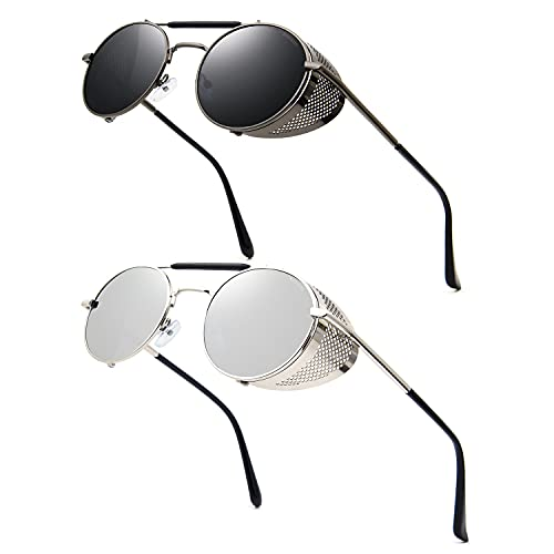 Ronsou Steampunk estilo redondo vintage polarizado gafas de sol retro gafas UV400 protección Matel marco, gris (A9 2 lentes grises con marco gris y lente plateada), Talla única