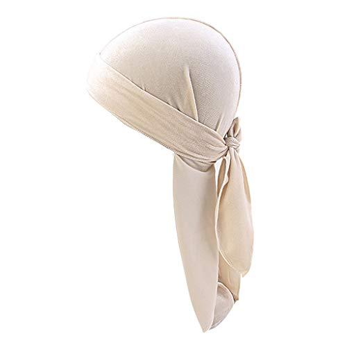 Milageto Sombrero de Bandana de Terciopelo Sólido para Hombres Transpirables Gorra de Turbante Durag Headwear - Beige, tal como se describe