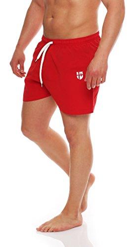 Gennadi Hoppe Herren Badeshorts kurz Badehose Strand Shorts Boardshorts,rot,Large