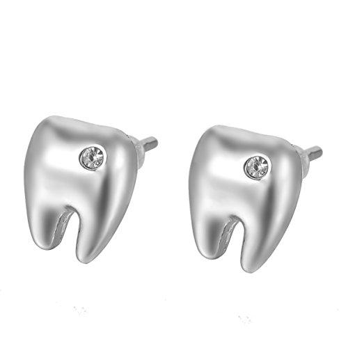 HOUSWEETY Legierung Damen Zahn Ohrringe mit Zirkonia eingelegt 9.5mmx8mm,Silber