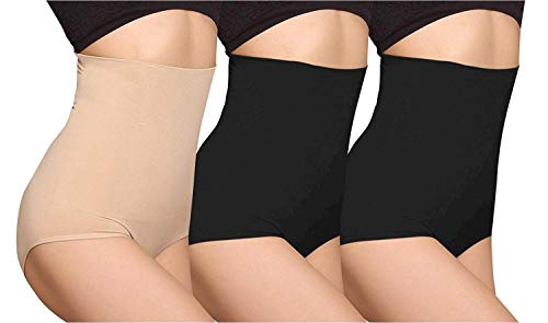 iLoveSIA Women's C-Section Recovery Slimming Underwear Tummy Control Panties 2Black+Nude Size XL